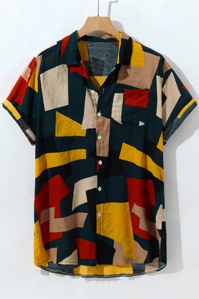 Summer Mens Irregular Color Block Short Sleeve Button Up Cotton Loose Shirt