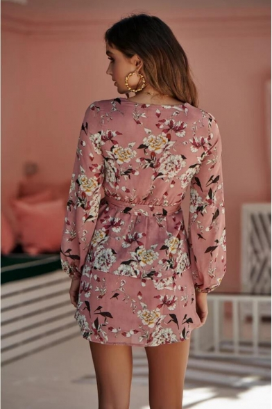 Summer Pink Chic Floral Printed V-Neck Long Sleeve Tied Waist Mini A-Line Dress