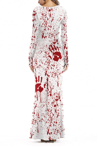 Summer Stylish Halloween Style Red Hand Print Long Sleeves Party Maxi Dress