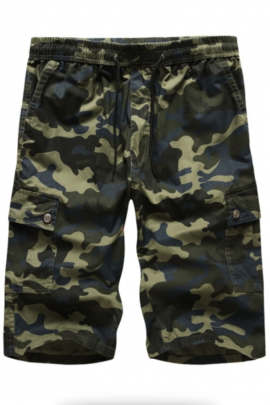 Summer Trendy Camouflage Printed Flap Pocket Side Drawstring Waist Leisure Cargo Shorts for Men
