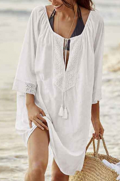 Summer Womens Fashion Simple Plain Long Sleeve Beach Bikini Cover Up Dress