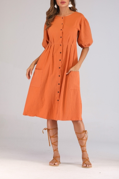 Summer Womens Holiday Fashion Orange Red Round Neck Puff Sleeve Button Down Midi Linen Dress with Pocket