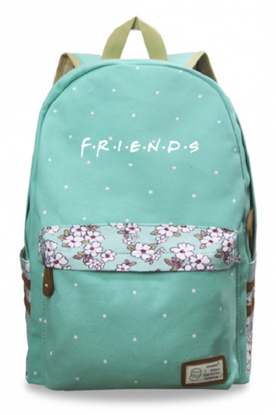 Trendy Starry Floral Letter FRIENDS Printed Canvas School Bag Backpack 30*14.5*42cm