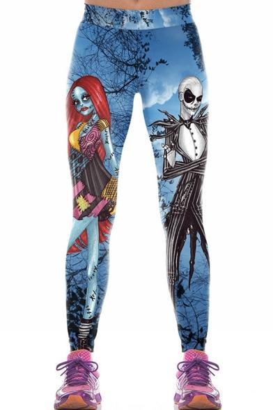 Trendy Womens Elastic Waist Halloween Jack and Sally Skull Character Print Skinny Pants Leggings