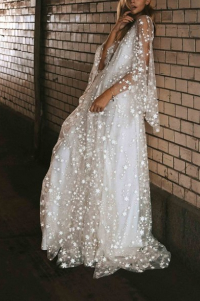 Womens Chic Stylish White Star Print Sheer Mesh Plunge V Neck Maxi Glitter Party Dress