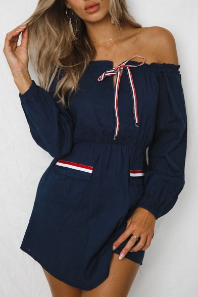Womens Hot Trendy Tied Off the Shoulder Long Sleeve Simple Striped Pocket Mini A-Line Shirt Dress