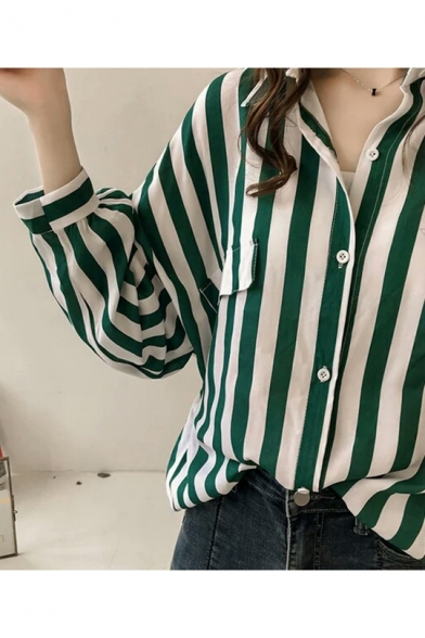 Womens New Stylish Vertical Striped Printed Long Sleeve Casual Loose Shirt