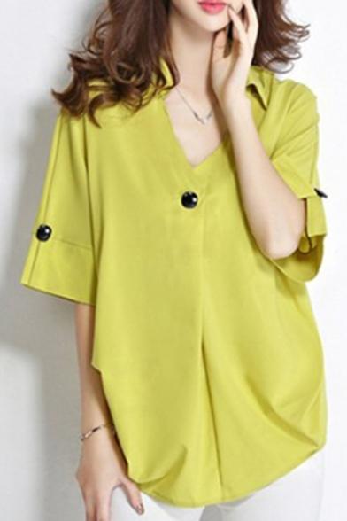 Womens Plus Size Fashion Plain Single Button Front V-Neck Loose Fit Blouse Top