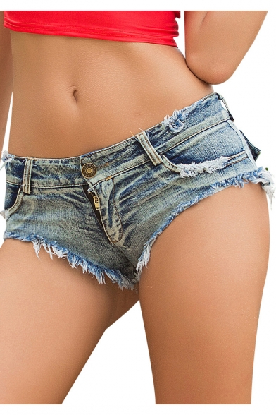 Womens Sexy Night Club Distressed Frayed Hem Beach Hot Pants Denim Shorts