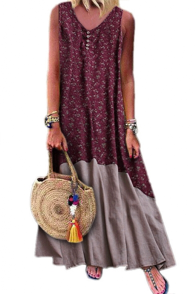 Womens Summer Fashion Boho Style Floral Printed V-Neck Sleeveless Maxi Linen Swing Tank Dress