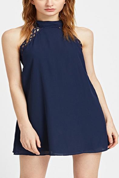 Womens Summer Fashion Halter Neck Sleeveless Plain Blue Mini Swing Dress