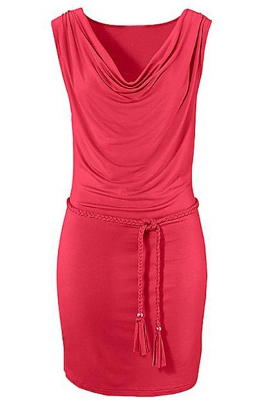 Womens Trendy Plain Red Cowl V-Neck Sleeveless Braided Tied Waist Mini Bodycon Dress
