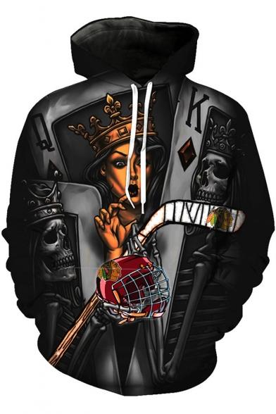 Cool Unique Crown Figure Skull Poker Card Printed Long Sleeve Sport Loose Black Hoodie