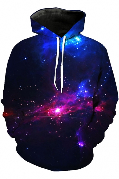 Fancy Trendy Purple Galaxy 3D Print Unisex Sport Loose Pullover Hoodie