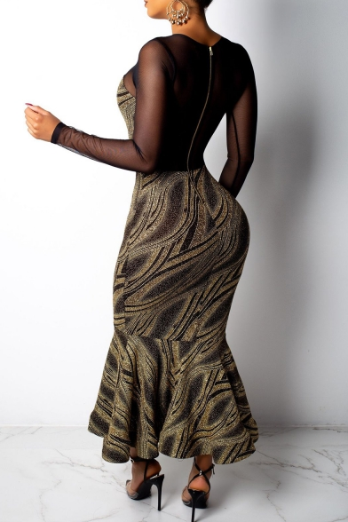 Fashion Hot Sale Mesh Patch Long Sleeve Round Neck Bodycon Spark Ruffle Hem Maxi Dress