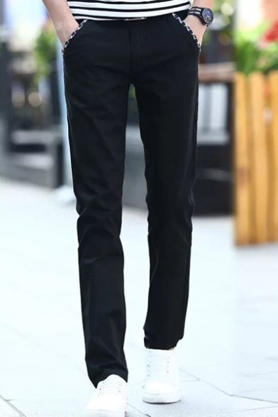 Fashion Printed Trim Slim Fitted Casual Dress Pants for Men