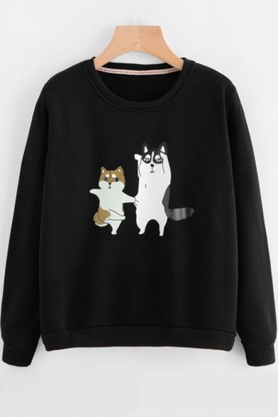 Girls Cute Cat Printed Basic Round Neck Long Sleeve Pullover Casual Loose Sweatshirt
