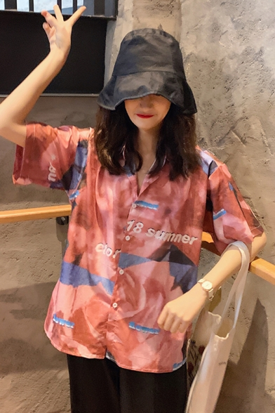 Girls Summer Vintage Painting Print Short Sleeve Relaxed Casual Button Shirt
