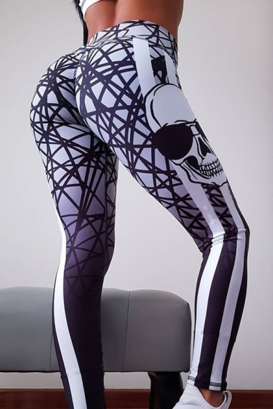 Halloween Style Skull Printed Striped Side Elastic Waist Skinny Fitted Legging Pants