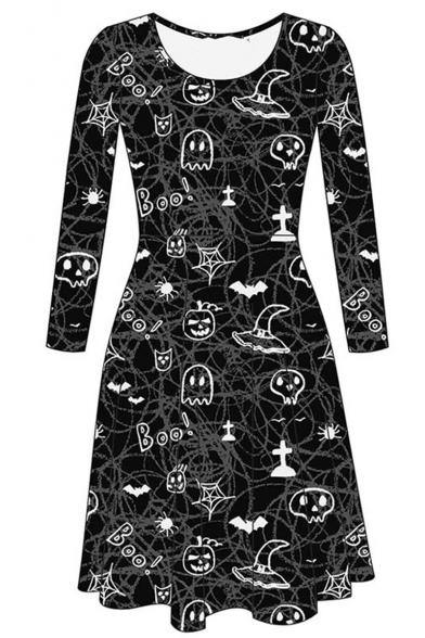 Hot Sale Fashion Halloween Pumpkin Letter Boo Print Round Neck Long Sleeve Mini Dress