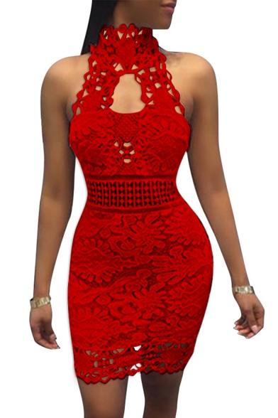 Hot Sale Popular Plain Sleeveless Cutout Lace Skinny Fitted Mini Dress