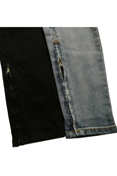 Men's Cool Knee Cut Ripped Slim Fit Drawstring Waist Jeans with Holes