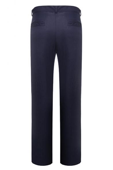 Men's Fashion Simple Plain Straight-Leg Tailored Business Dress Pants