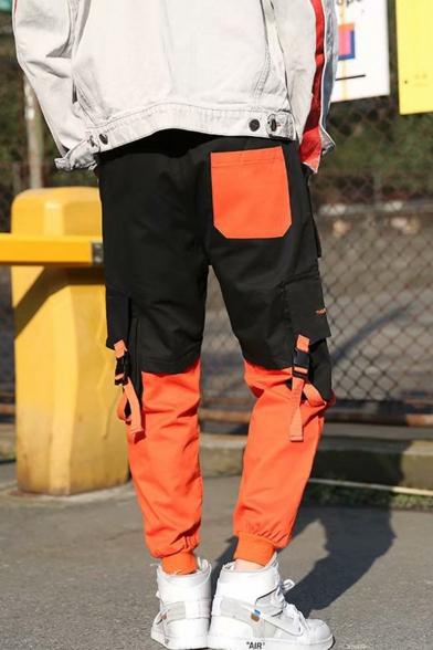 Men's Hot Trendy Colorblock Buckle Strap Flap Pocket Side Mini Zipped Pocket Embellished Hip Pop Cargo Pants