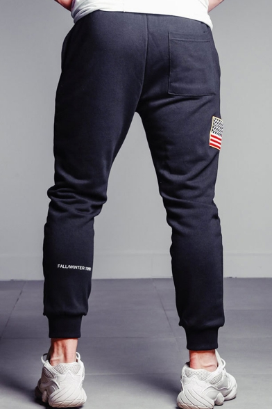 Men's New Fashion Letter Printed American Flag Patched Drawstring Waist Black Casual Sports Pencil Pants