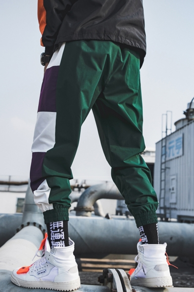 Men's Street Style Fashion Colorblock Patched Drawstring Waist Elastic Cuffs Casual Loose Track Pants