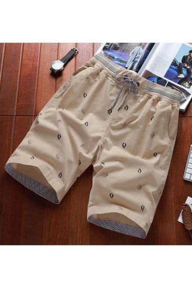 Men's Summer Fashion All-over Printed Drawstring Waist Casual Cotton Beach Shorts Relaxed Shorts