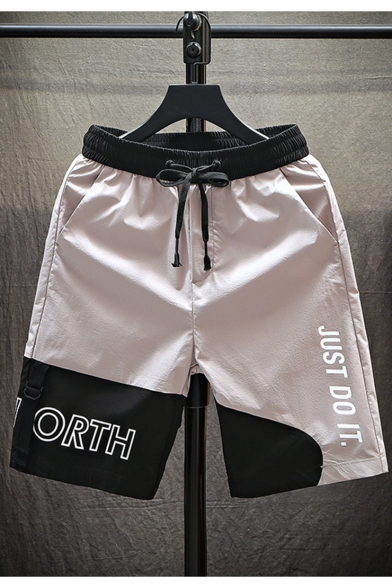 Men's Summer Fashion Colorblock Letter JUST DO IT Printed Drawstring Waist Sports Athletic Shorts