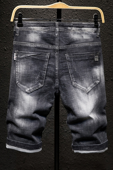 Men's Summer Fashion Letter Embroidery Ripped Detail Black Slim Fit Denim Shorts