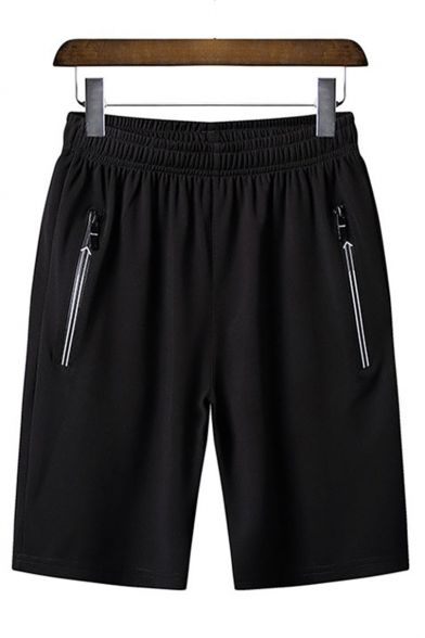 Men's Summer Fashion Simple Plain Zipped Pocket Running Sports Sweat Shorts