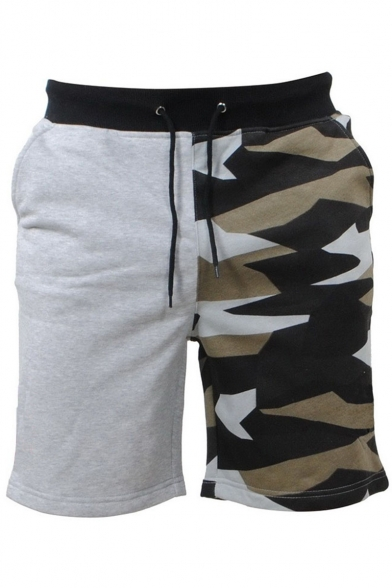 Men's Summer Hot Fashion Camouflage Printed Patched Drawstring Waist Casual Beach Sweat Shorts