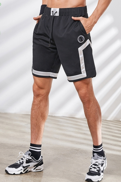 Men's Summer New Stylish Colorblock Letter 1 Embroidery Pattern Drawstring Waist Comfortable Athletic Shorts