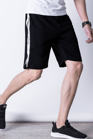 Men's Summer Stylish Colorblock Letter Printed Elastic Waist Casual Sports Shorts