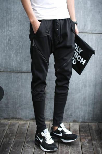 Men's Trendy Simple Plain Button Zipper Embellished Casual Slim Pencil Pants