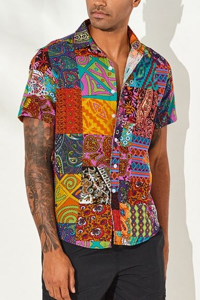 Mens Ethnic Style Tribal Printed Short Sleeve Button Up Linen Shirt