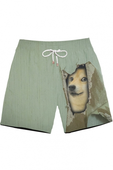 Mens Summer Cute Funny 3D Dog Printed Drawstring Waist Beach Shorts