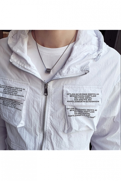 Mens Unique Letter Flap Pocket Front Long Sleeve UV Protection Zip Up Hooded Jacket Coat