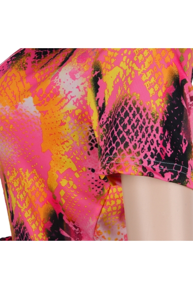 New Stylish Womens Plunge V Neck Short Sleeve Tie Waist Tie Dye Skinny Fitted