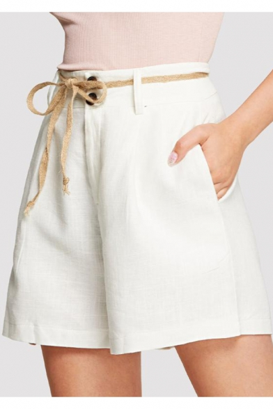 Office Lady Simple Plain Tied Waist White Casual Loose Straight Fit Shorts, LM548744