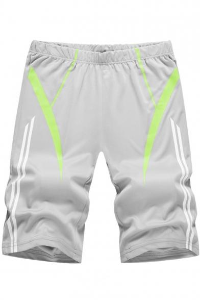 Summer Fashion Contrast Stripe Pattern Elastic Waist Men's Leisure Cotton Sweat Shorts