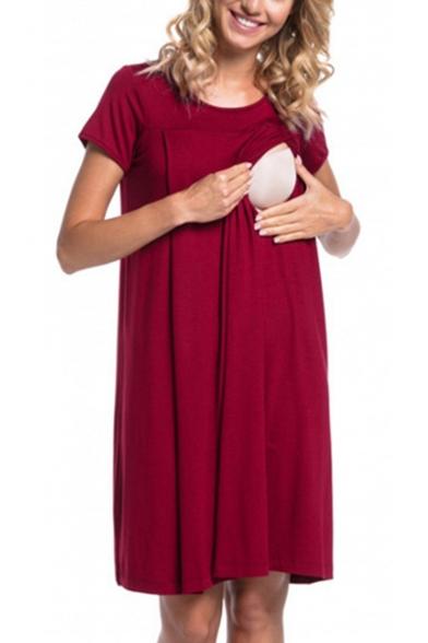 Лето мода простой короткий рукав кнопка задней функциональные свободные миди для беременных кормящих платье для кормящих матерей