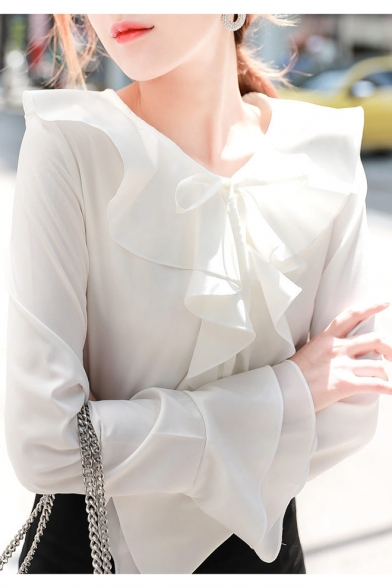 Summer Fashion Simple Plain White Ruffled Round Neck Long Sleeve Chiffon Blouse Top