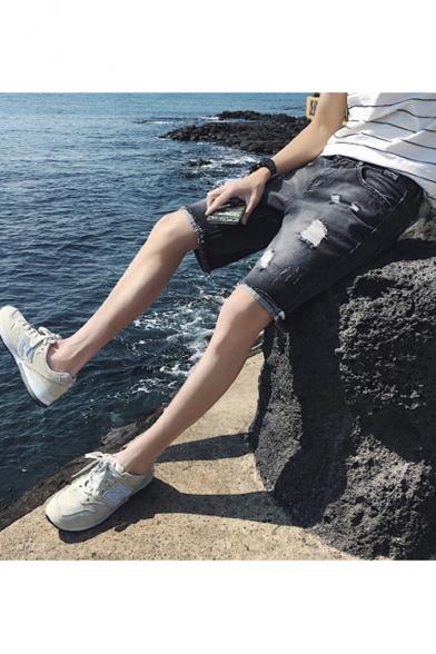 Summer Fashion Solid Color Ripped Detail Fringed Trim Black Denim Shorts for Men