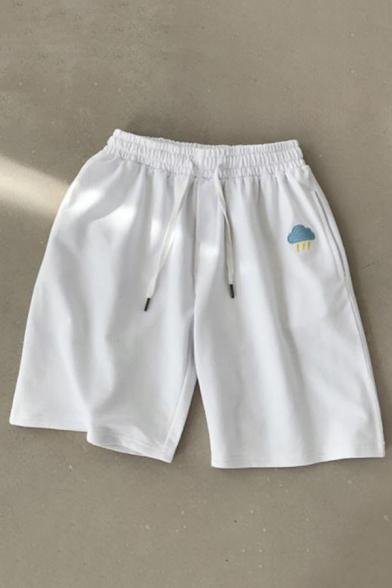 Summer Fashion Sun Embroidery Pattern Drawstring Waist Casual Sweat Shorts