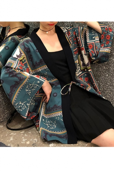 Summer Hot Stylish Vintage Floral Printed Short Sleeve Oversize Casual Loose Chic Sunscreen Cardigan Shirt