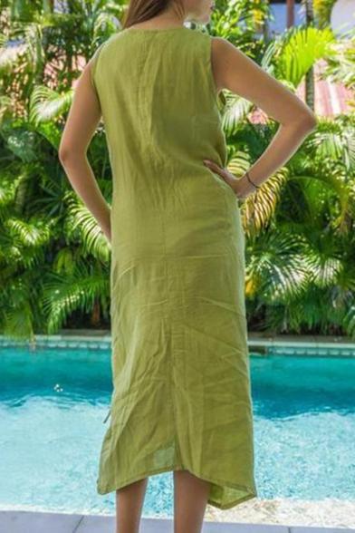 Summer New Fashion Cool Square Neck Sleeveless Drawstring Hem Maxi Casual Linen Tank Dress